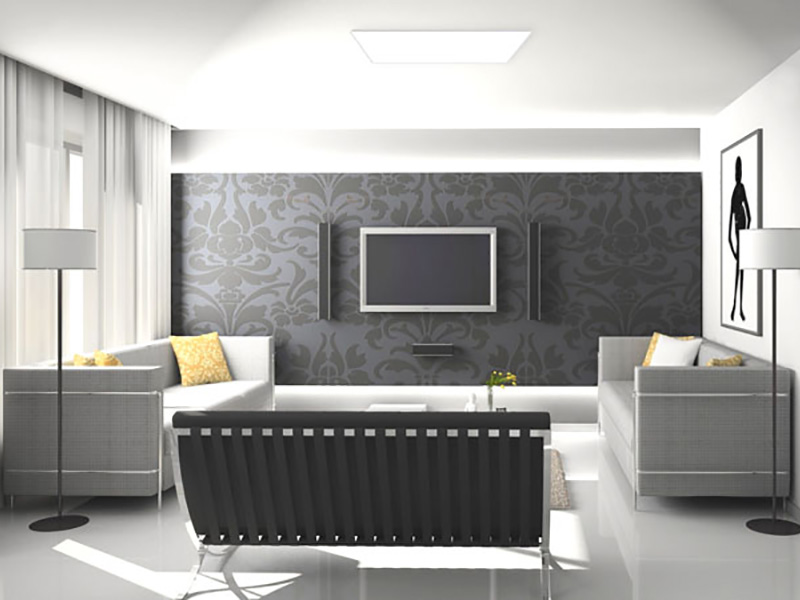 Living Room With Large LED Panel, Solar Lighting System
